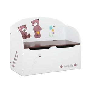 Keezi Kids Storage Box Bench - White & B