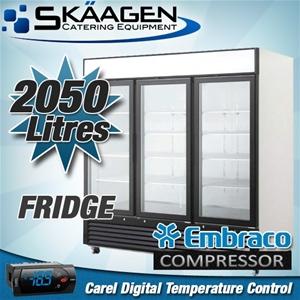 Unused Three Door Glass Fridge BCC03-GL
