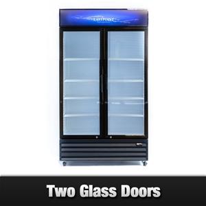 Unused Double Glass Door Display Fridge
