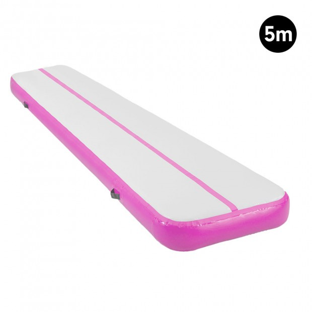 5m Inflatable Yoga Mat Gym Exercise 20cm Air Track Tumbling - Pink