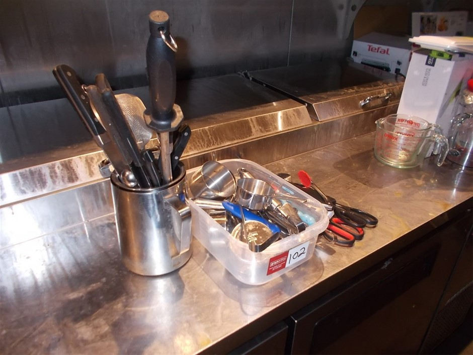 Assortment Of Kitchen Utensils Includes Chef Knives
