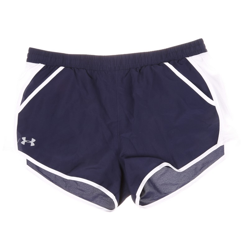 UNDER ARMOUR Women`s HeatGear Shorts, Size L, Blue/White. Buyers Note - Dis