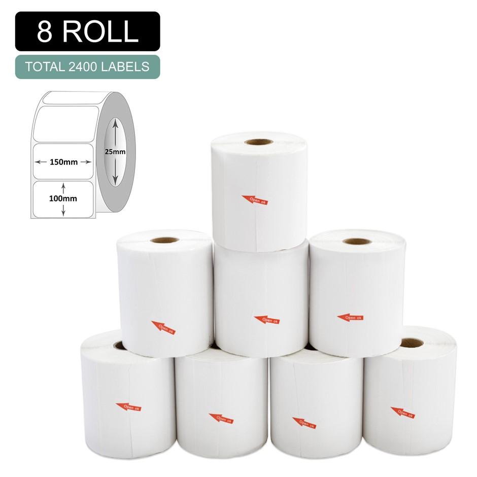 8 Rolls Thermal Label - Core 25mm x 300pcs