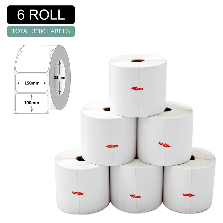 6 Rolls Thermal Label - Core 25mm x 500pcs