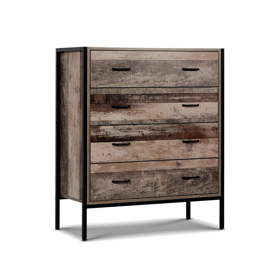 Tallboy 4 Chest of Drawers Bedroom Dresser Storage Cabinet Rustic