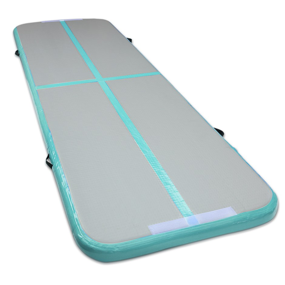 Inflatable Track Gymnastic Tumbling Air Mat Mint and Grey