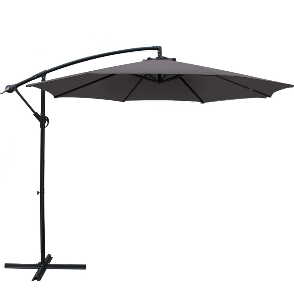 Instahut 3M Garden Umbrella Cantilever Shade Patio Charcoal