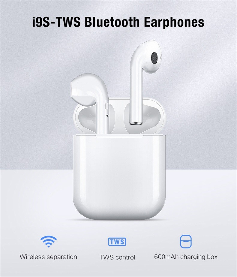 i9s TWS Smart Wireless Bluetooth Earphone - White