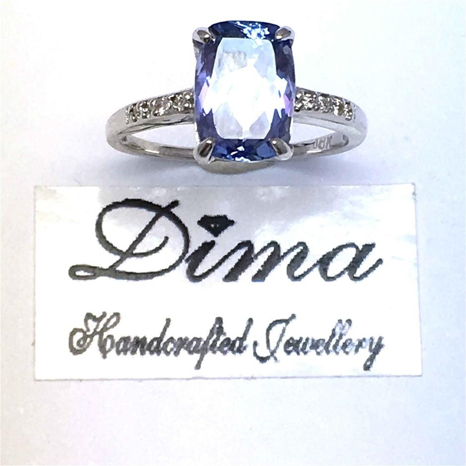 18ct White Gold, 2.96ct Tanzanite and Diamond Ring