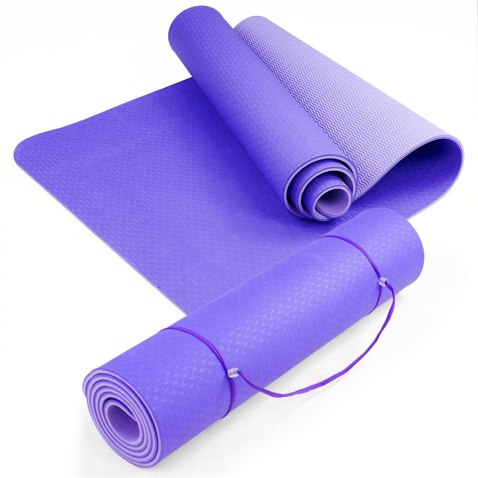 Powertrain Eco Friendly TPE Yoga Exercise Mat - Purple