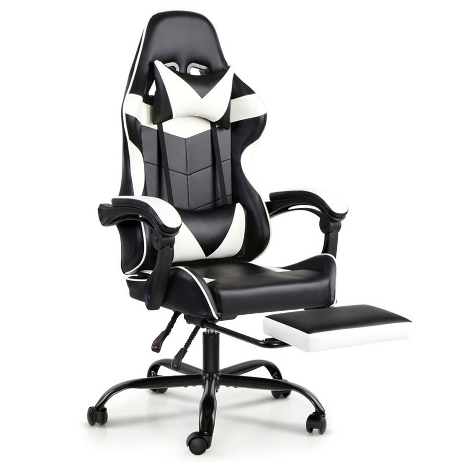 Artiss Gaming Office Chairs Racing Recliner Racer Footrest White