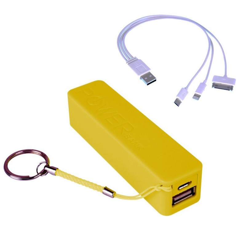(4 Pack) Laser Power Banks 2200MAH With Cable, Yellow