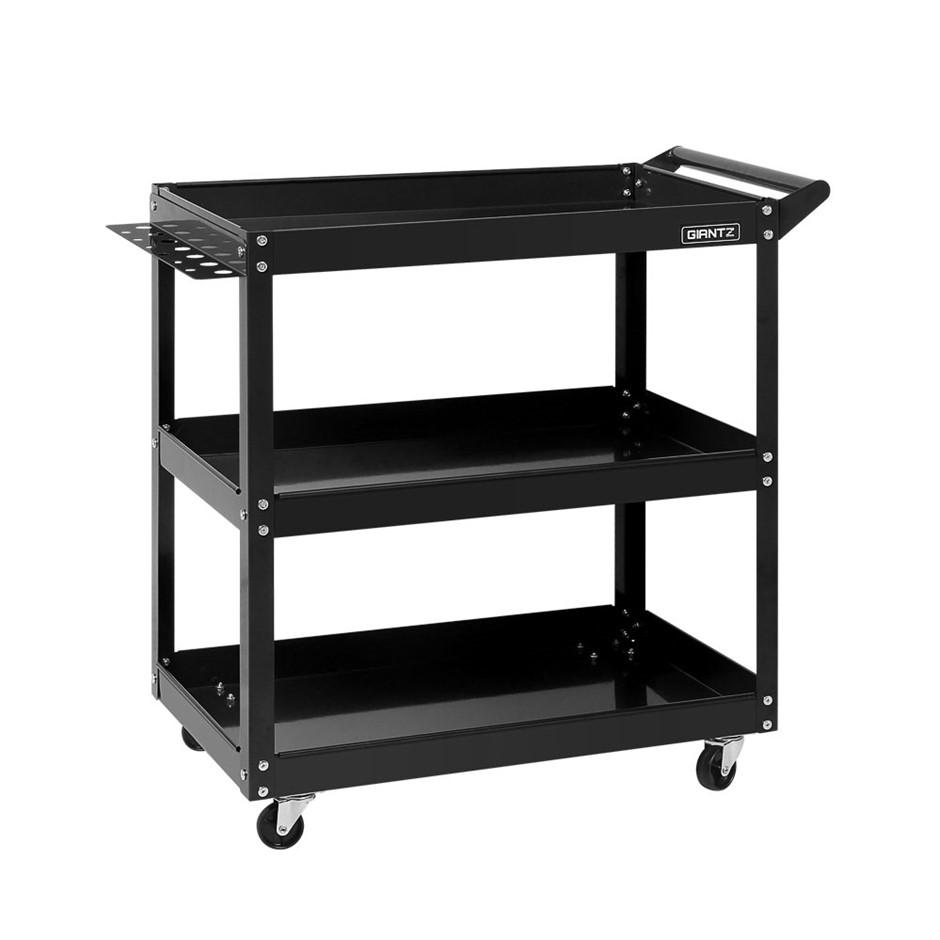 New Giantz Tool Cart 3-Tier Parts Steel Trolley Storage Organizer Black