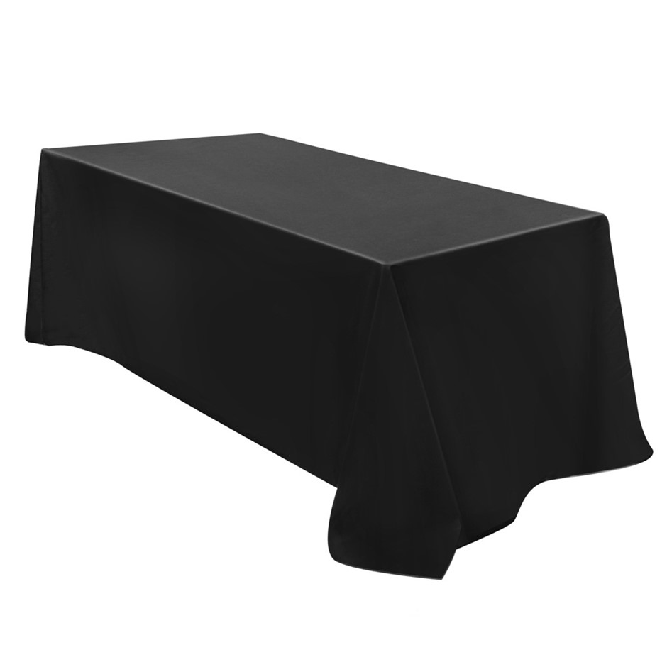 6X Wedding Table Cloths Rectangle Tablecloth Party Banquet Black 320X153CM