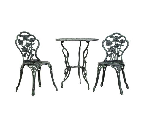 Gardeon 3PC Outdoor Setting Cast Aluminium Bistro Table Chair Patio Green