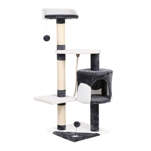 i.Pet Cat Scratcher Pole - White and Gre