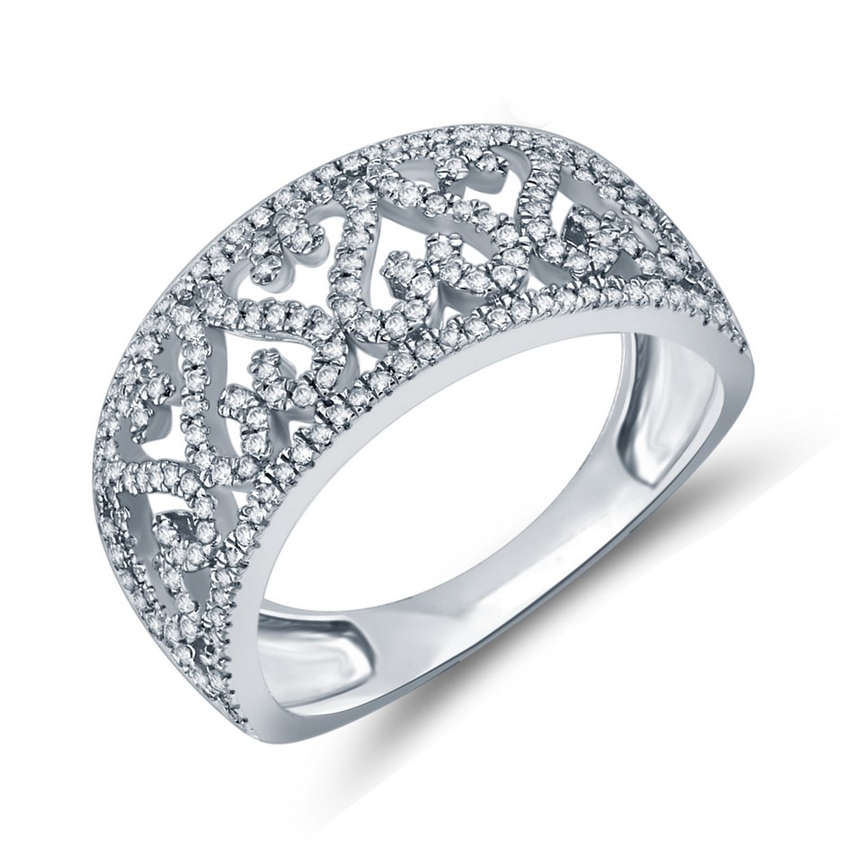 9ct White Gold,0.34ct Diamond Dress Ring