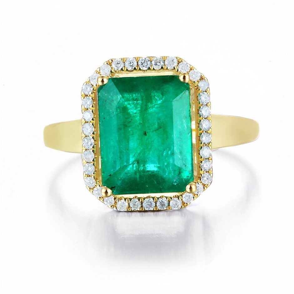 9ct Yellow Gold, 3.91ct Emerald and Diamond Ring