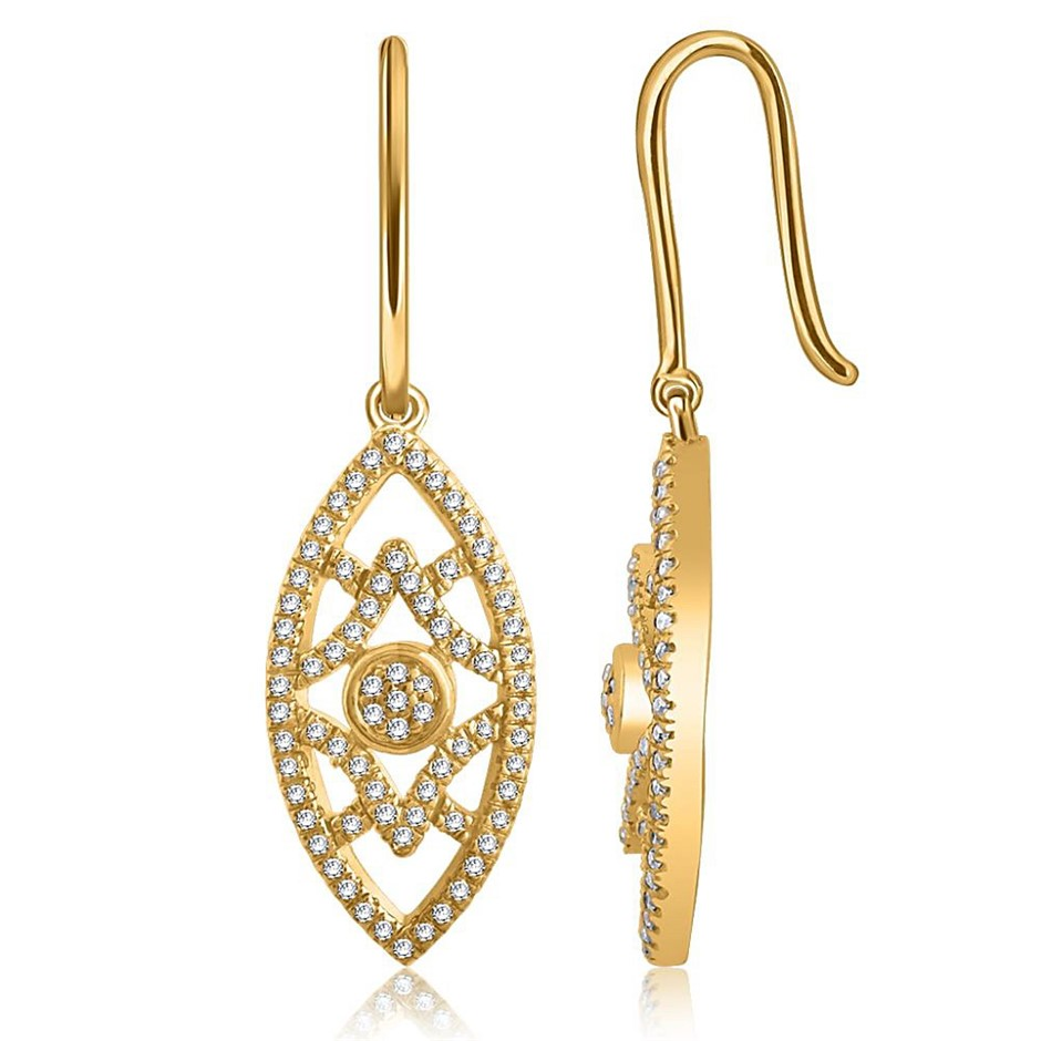 9ct Yellwo Gold, 0.24ct Diamond Earrings