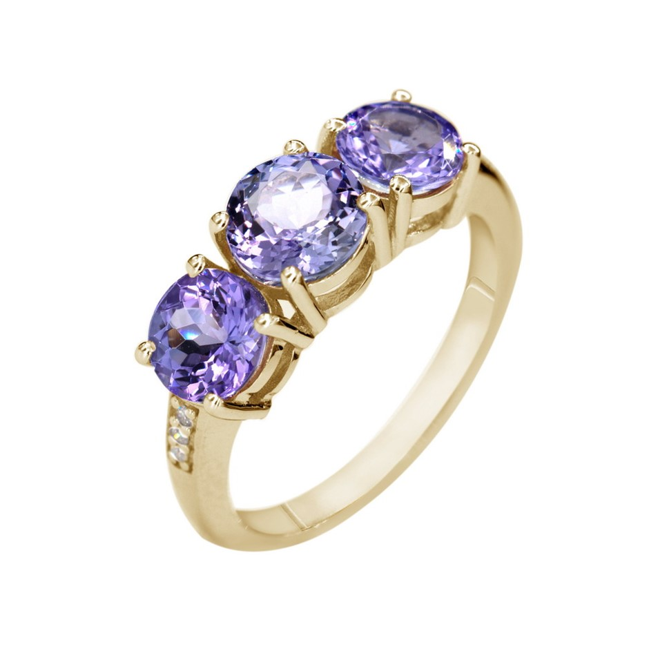 9ct Yellow Gold, 2.80ct Tanzanite & Diamond Dress Ring