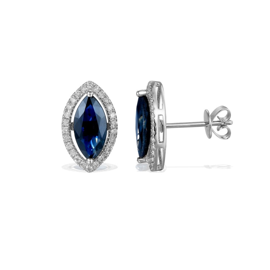 9ct White Gold, 2.65ct Blue Sapphire & Diamond Earrings