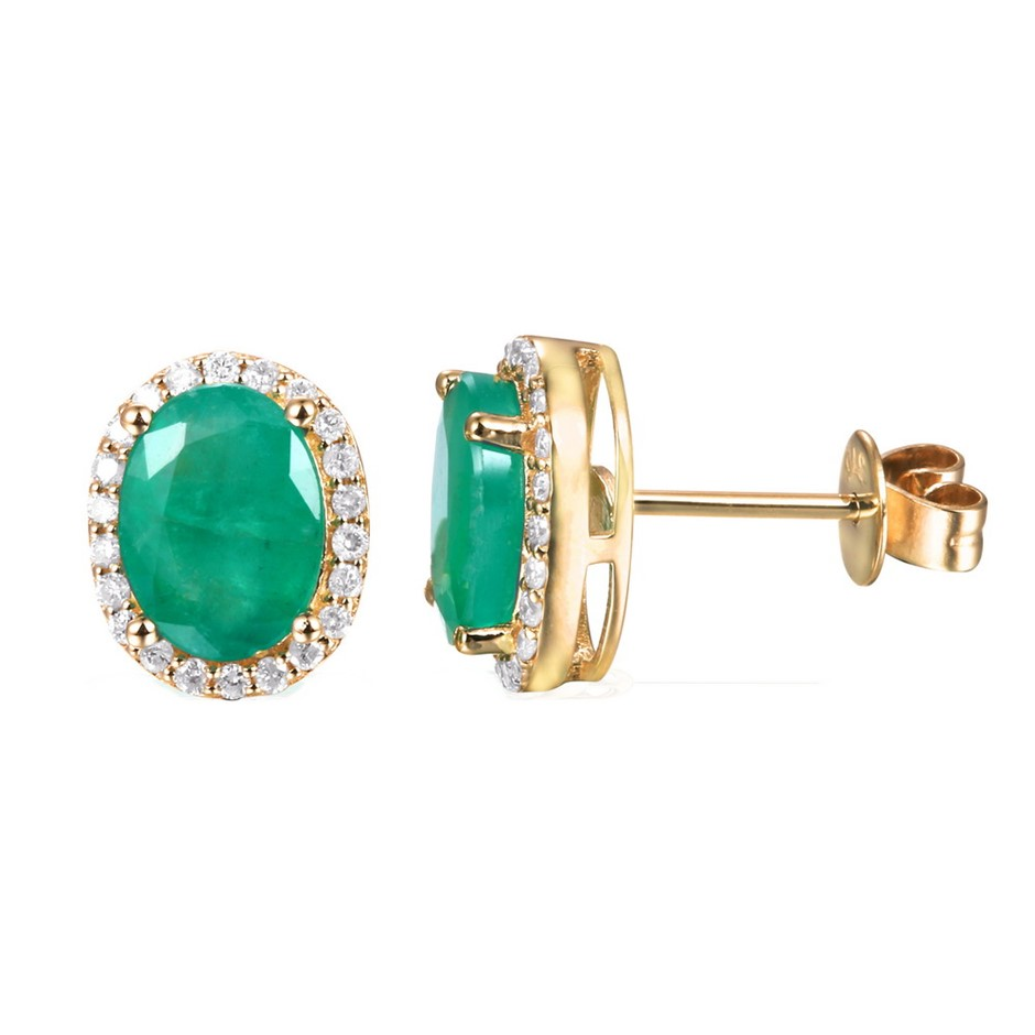 9ct Yellow Gold, 2.88ct Emerald & Diamond Earrings