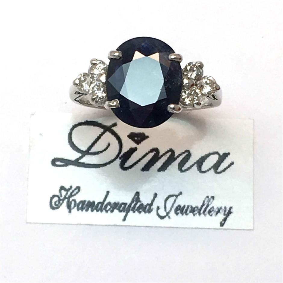 18ct White Gold, 3.76ct Blue Sapphire & Diamond Ring