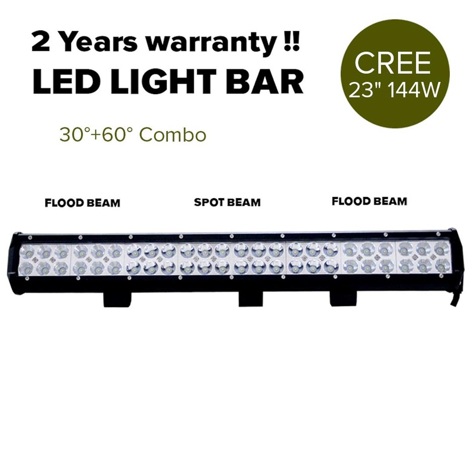 "23"" 144W Cree LED Light Bar Spot Floodlight 4x4 O/Road Work Ute Atv 12v 24v"