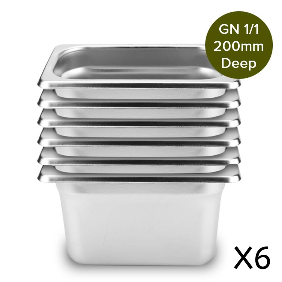 6 x Gastronorm GN Pan Full Size 1/1 GN Pan 200mm Deep Stainless Steel Tray