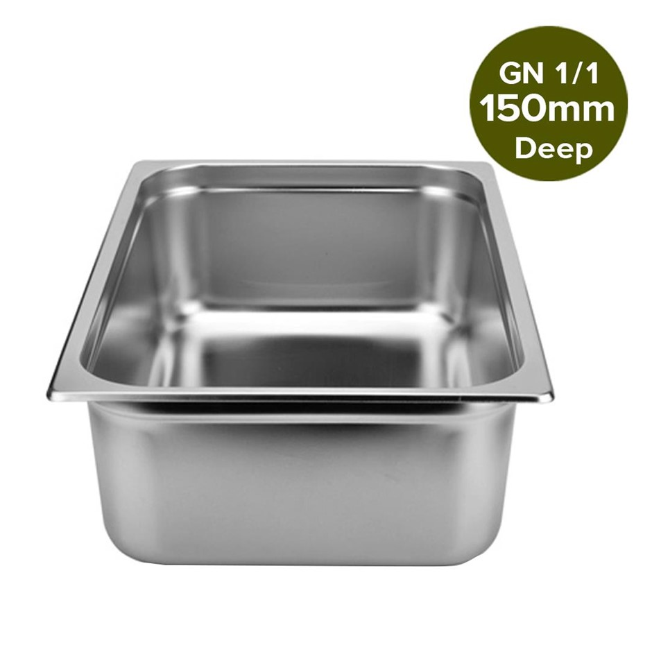 SOGA Gastronorm GN Pan Full Size 1/1 150mm Deep Stainless Steel Tray