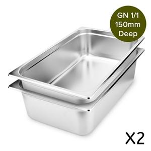 SOGA 2 x Gastronorm GN Pan 150mm Deep St