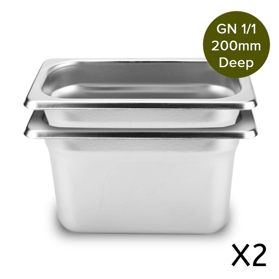 SOGA 2 x Gastronorm 1/1 GN Pan 200mm Deep Stainless Steel Tray