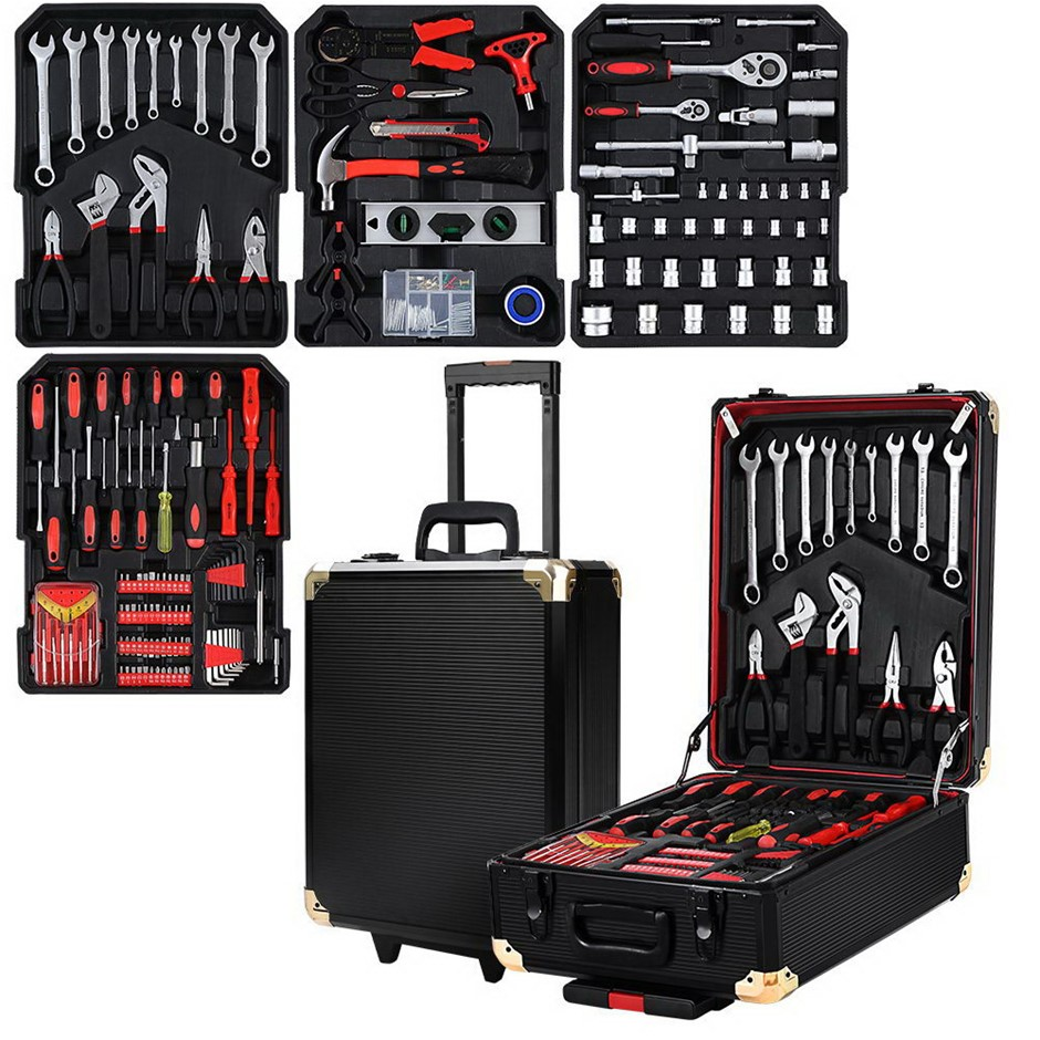 Giantz 802pcs Tool Kit Trolley Case Mechanics Toolbox Portable DIY Set BK