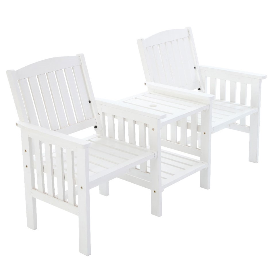 Gardeon Wooden Chair Table Loveseat Outdoor Furniture Patio Park White