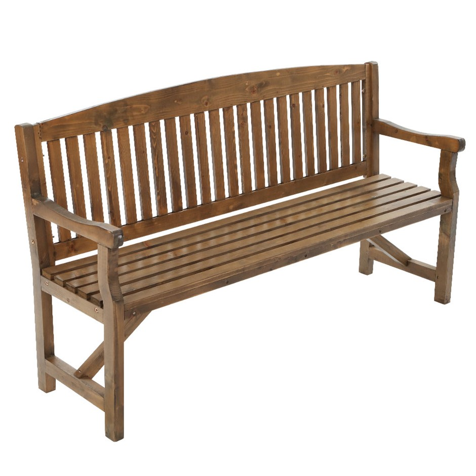 Garden Bench Chair 3 Seater Natural Wood Outdoor Dcor Patio Deck Natural