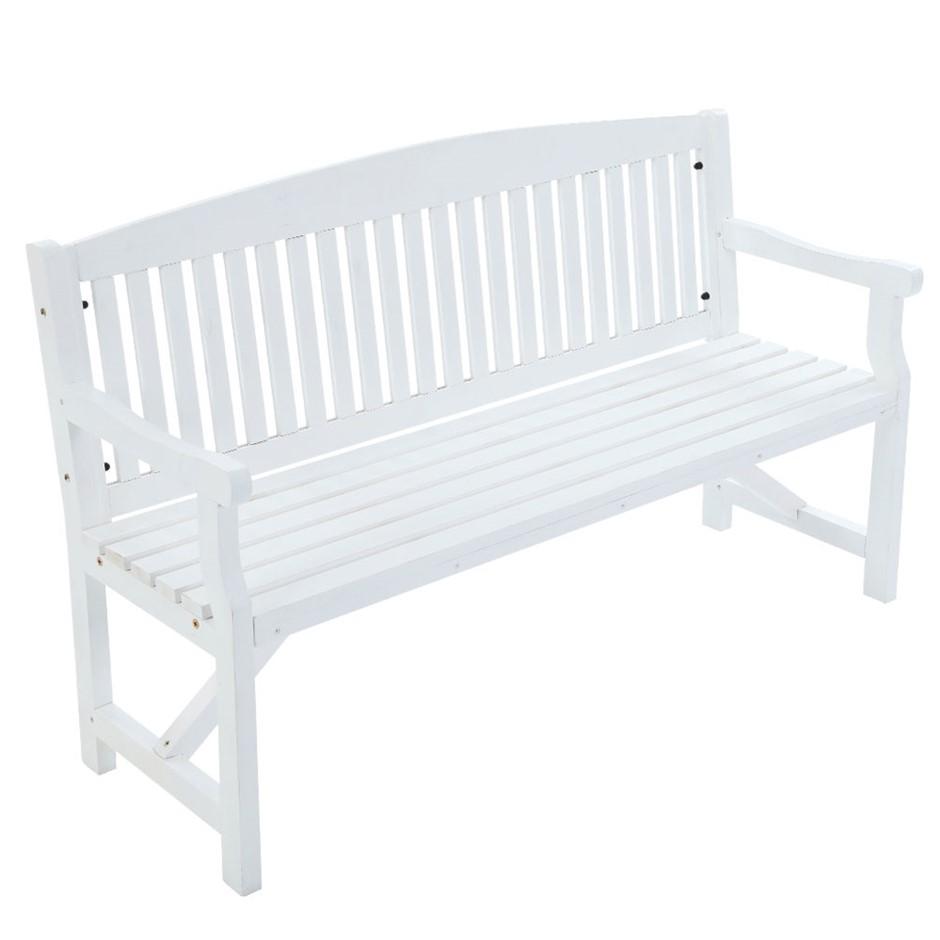 Garden Bench Chair 3 Seater Natural Wood Outdoor Decor Patio Deck White