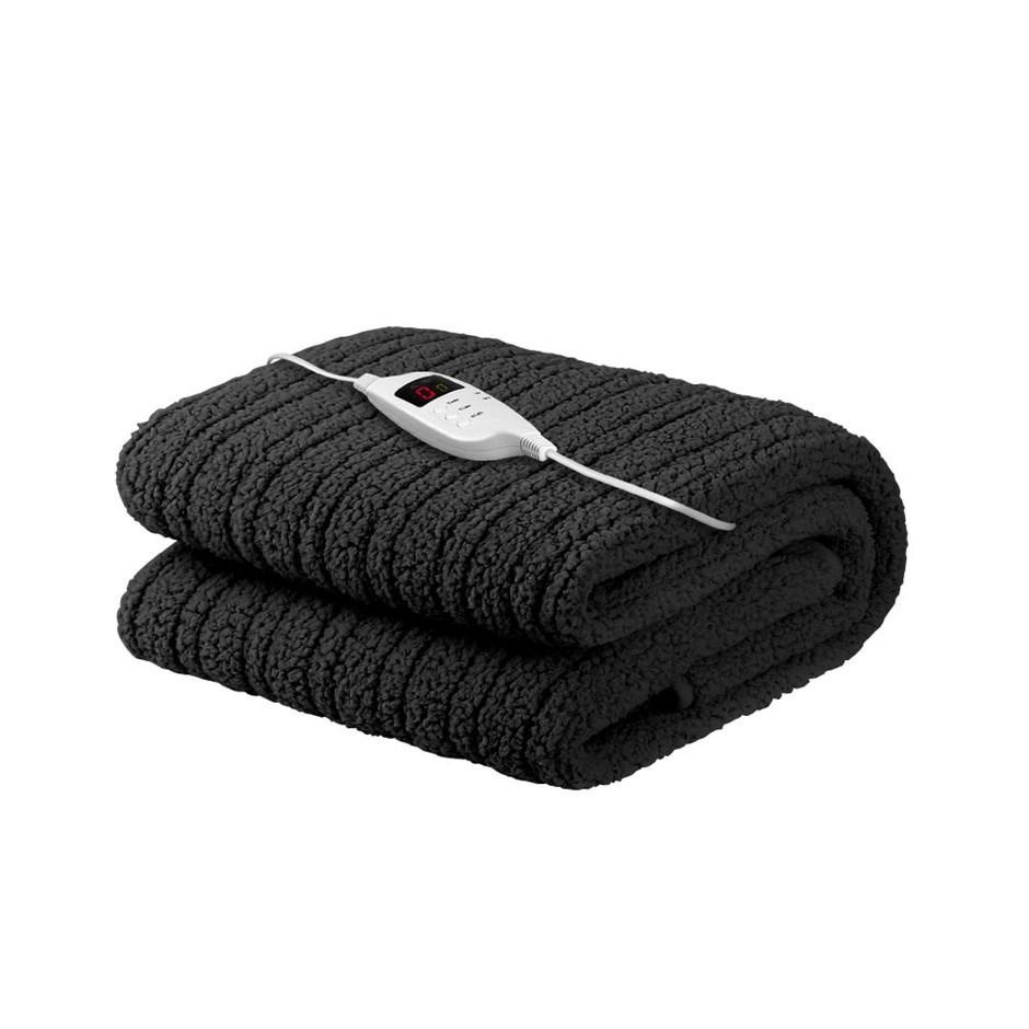 Giselle Bedding Washable Heated Electric Throw Rug Fleece Blanket Black