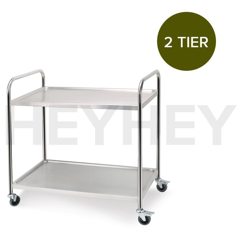 SOGA 2 Tier S/S Kitchen Dining Food Cart Trolley Utility Rnd 86x54x94cm Lge