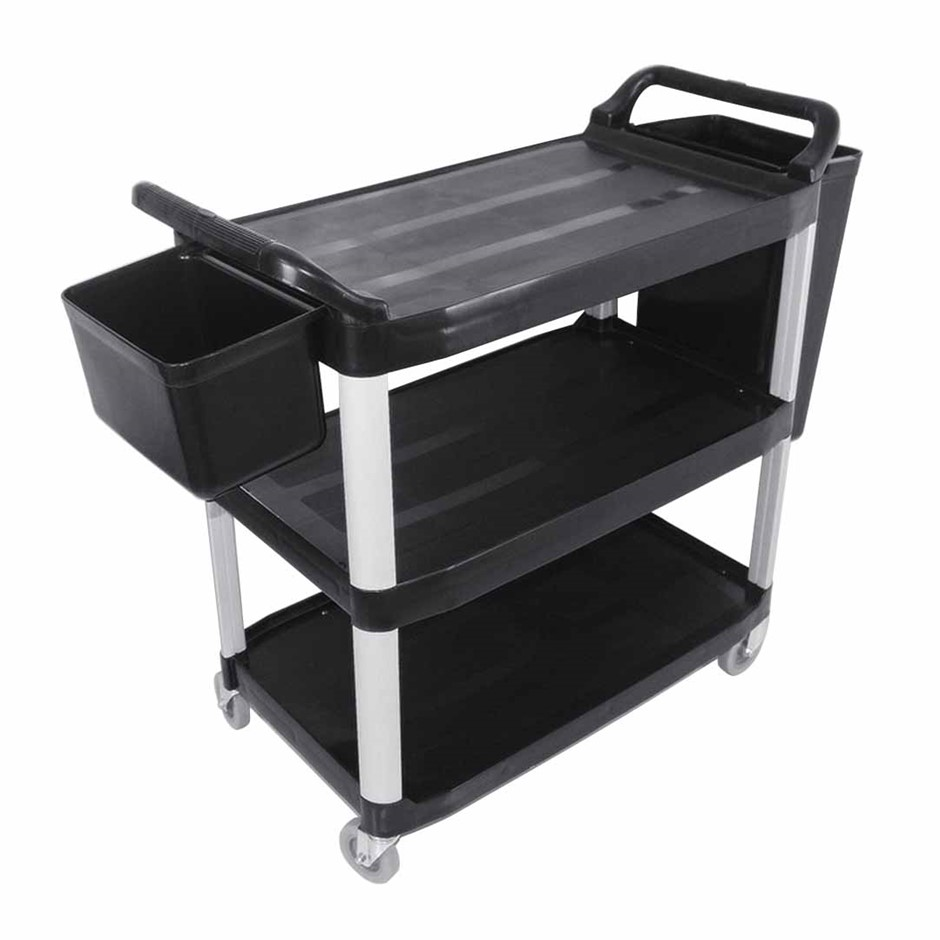 SOGA 3 Tr Trolley Food Waste Cart W/Two Bins Stge Kitch. Blk 10.2x50x96cm L