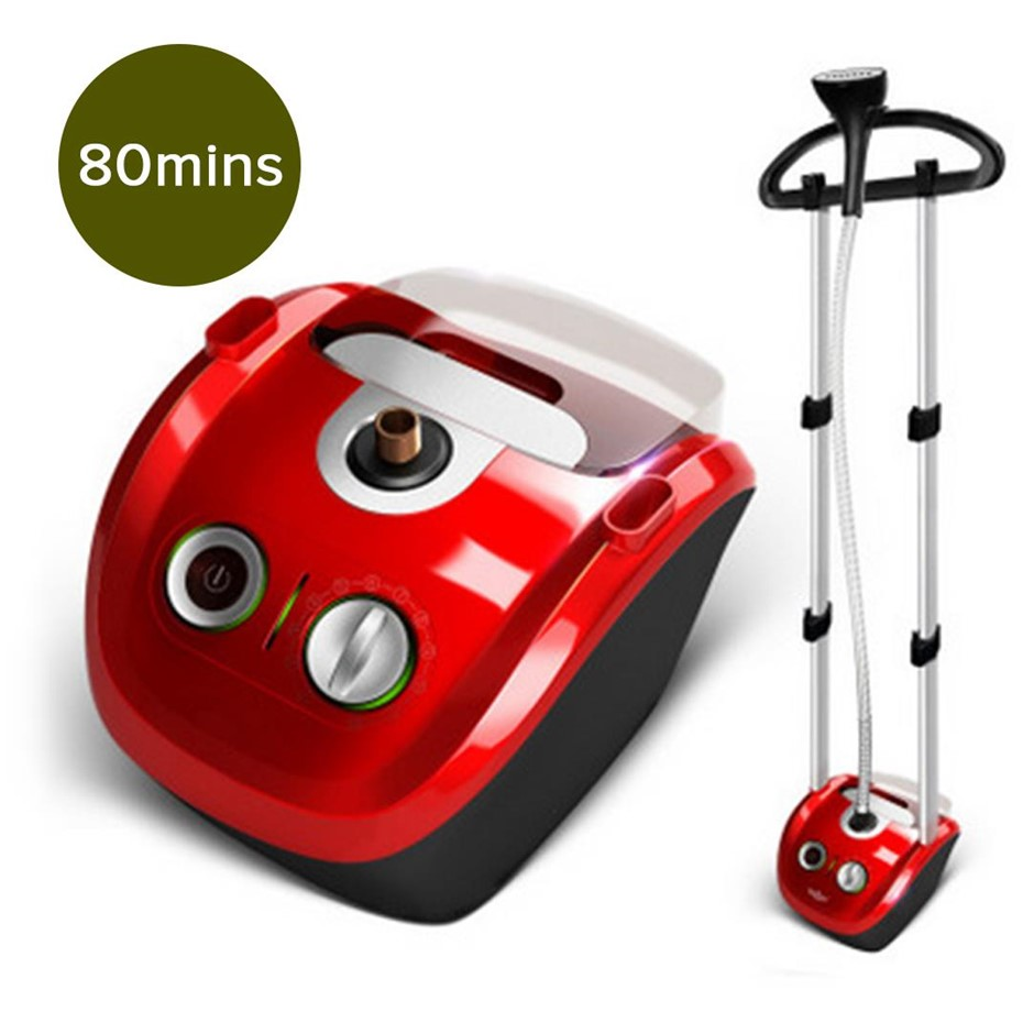 Garment Steamer Vert Twin Pole Clothes 2.8L 1800w Prof. Steaming Kit Red