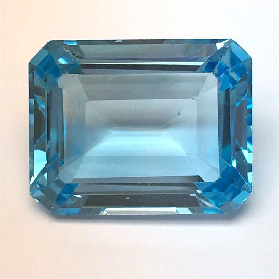 One Stone Blue Topaz Emerald Cut 32.44ct