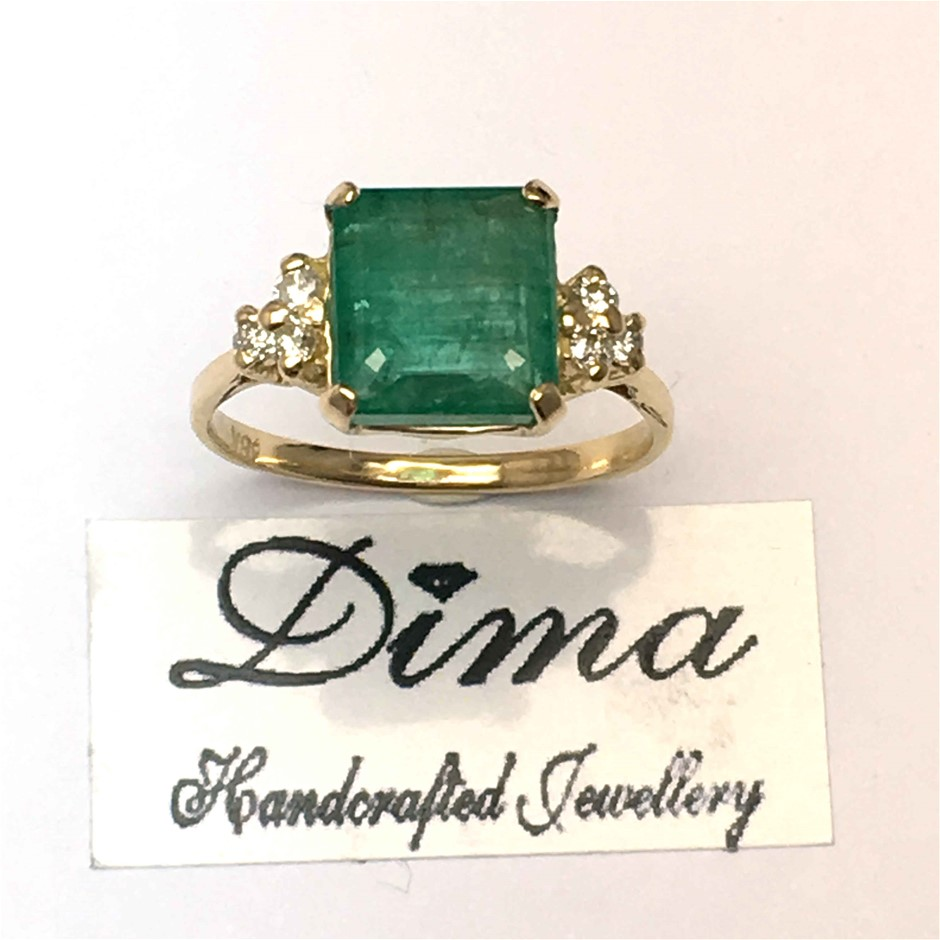 18ct Yellow Gold, 3.49ct Emerald and Diamond Ring