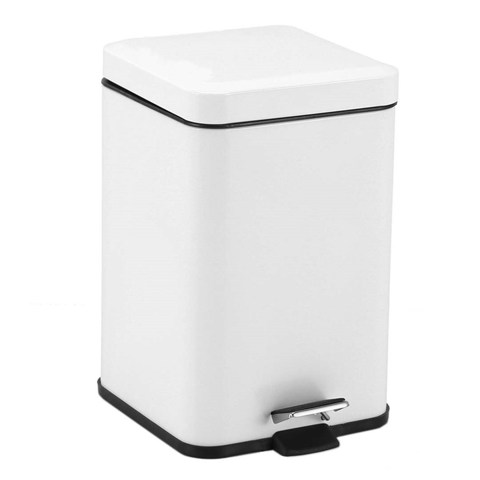 Foot Pedal Stainless Steel Garbage Waste Trash Bin Square 6L White