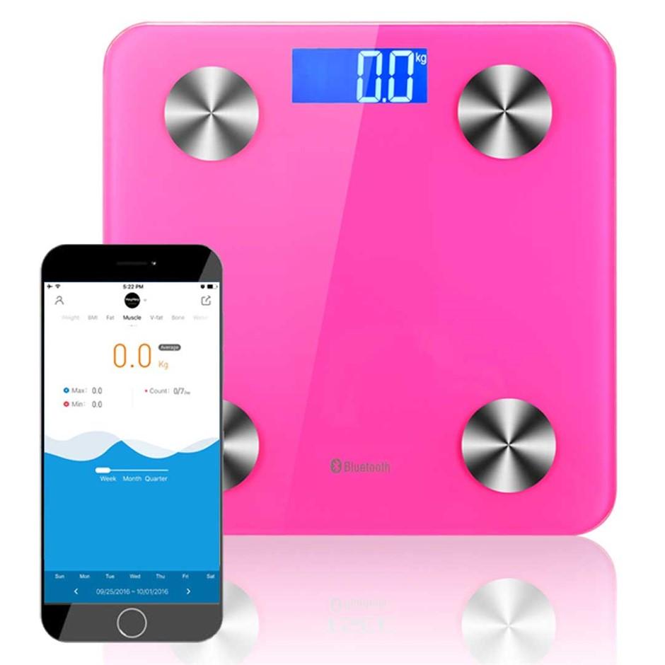 SOGA Wireless Bluetooth Digital Body Fat Scale Health Analyser Weight Pink