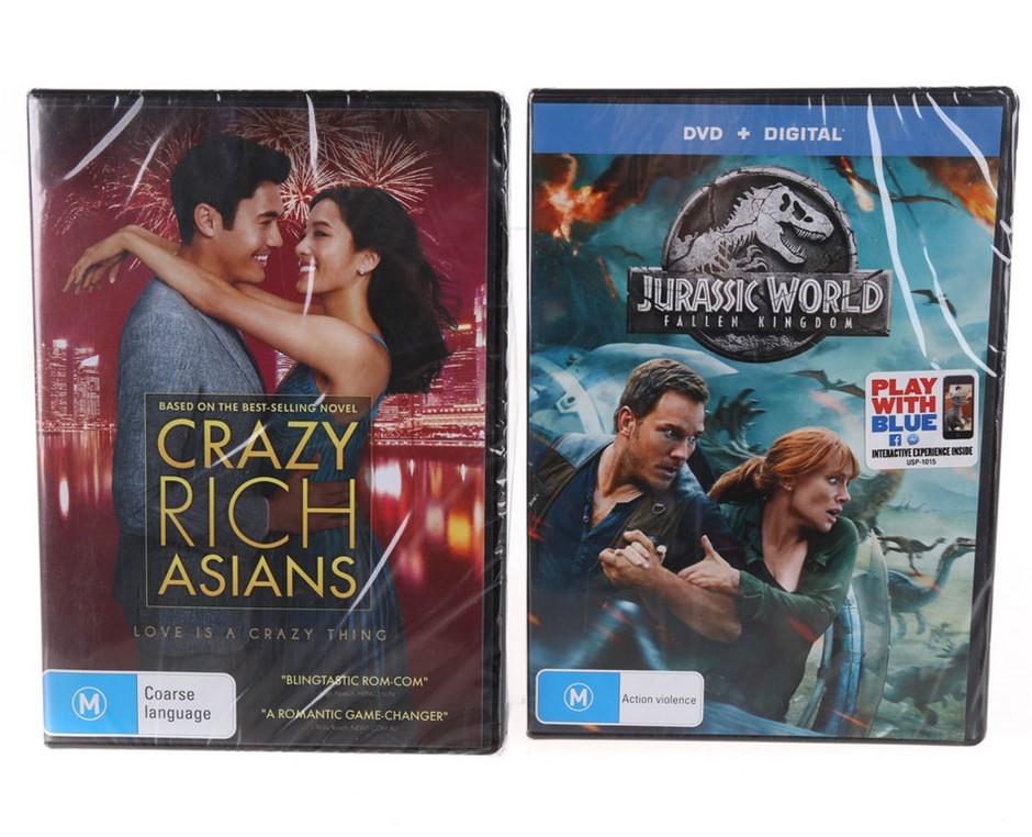 2 x DVD`s - CRAZY RICH ASIANS & JURASSIC WORLD Fallen Kingdom. Buyers Note