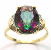 Genuine Diamond & Mystic Topaz 9k Gold Ring