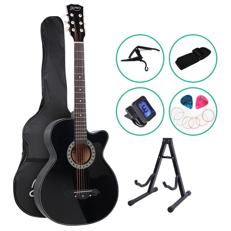 ALPHA 38 Inch Wooden Acoustic Guitar Classical Folk Full Size Black