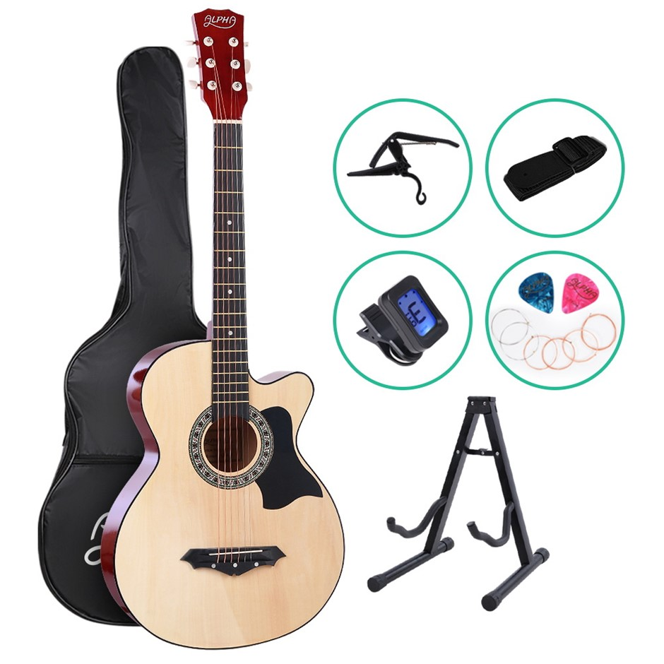 ALPHA 38 Inch Wooden Acoustic Guitar Classical Folk Full Size