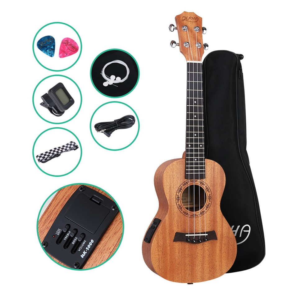ALPHA 23 Inch Electric Concert Ukulele Mahogany Hawaii Guitar EQ Tuner