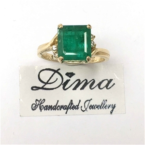 18ct Yellow Gold, 3.64ct Emerald and Dia
